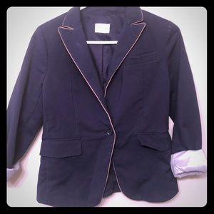 Club Monaco Size 6 Navy and Tan Blazer